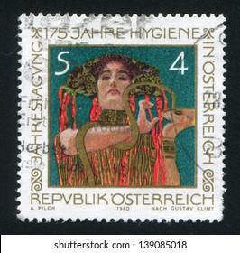 AUSTRIA - CIRCA 1980: stamp printed by Austria, shows Hygeia by Gustav Klimt, circa 1980