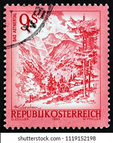 "AUSTRIA - CIRCA 1983: A stamp printed in Austria from the ""Views"" issue shows Asten valley, circa 1983."