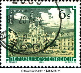 "AUSTRIA - CIRCA 1984: A stamp printed in Austria shows  Rein Abbey (Rein-Hohenfurth), Styria,  from the series ""Monasteries and Abbeys in Austria"", circa 1984"