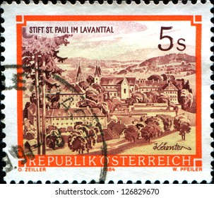 "AUSTRIA - CIRCA 1984: A stamp printed in Austria shows  St. Paul's Abbey in the Lavanttal, Karintien,  from the series ""Monasteries and Abbeys in Austria"", circa 1984"