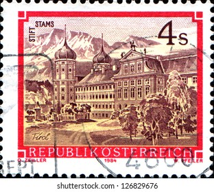 "AUSTRIA - CIRCA 1984: A stamp printed in Austria shows Stams Abbey, Tirol, from the series ""Monasteries and Abbeys in Austria"", circa 1984"