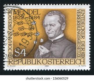 AUSTRIA - CIRCA 1984: stamp printed by Austria, shows Gregor Mendel, circa 1984