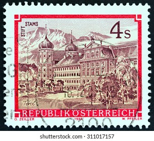 "AUSTRIA - CIRCA 1984: A stamp printed in Austria from the ""Monasteries and Abbeys"" issue shows Stams Monastery, circa 1984."