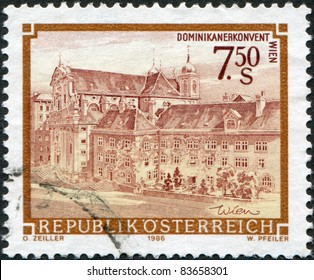 AUSTRIA - CIRCA 1986: A stamp printed in Austria, shows the Church of the Dominican Convent, Vienna, circa 1986