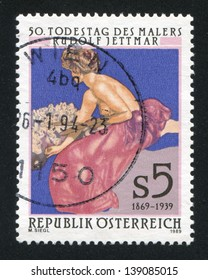 AUSTRIA - CIRCA 1989: stamp printed by Austria, shows Die Malerei, by Rudolf Jettmar, circa 1989