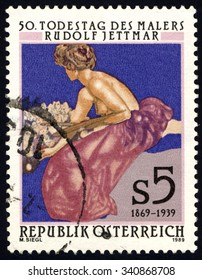 AUSTRIA - CIRCA 1989: A stamp printed in Austria, shows Die Malerei painting by Rudolf Jettmar, circa 1989