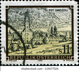 AUSTRIA - CIRCA 1990: A stamp printed in the Austria shows Engelszell Abbey, Upper Austria, circa 1990