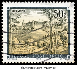 AUSTRIA - CIRCA 1990: A stamp printed in Austria shows Vorau Abbey, Styria, series, circa 1990