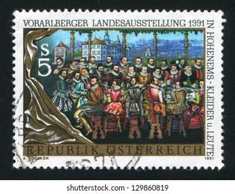 AUSTRIA - CIRCA 1991: stamp printed by Austria, shows Garden Banquet by Anthony Bays, sitting noblemen, circa 1991