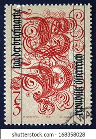 AUSTRIA - CIRCA 1991: a stamp printed in the Austria shows Letters B for Briefmarke and P for Philatelie, Stamp Day, circa 1991