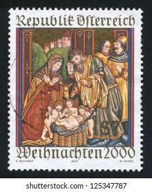 AUSTRIA - CIRCA 2000: stamp printed by Austria, shows Christmas, Altar sidewing, St. Martin�¢??s Church, Ludesch, circa 2000