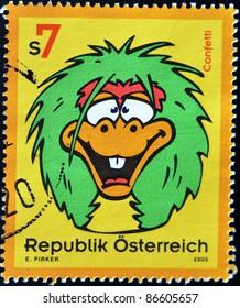 AUSTRIA - CIRCA 2000: A stamp printed in Austria shows cartoon image of confetti, circa 2000