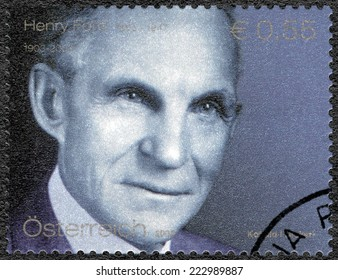 AUSTRIA - CIRCA 2003: A stamp printed in Austria shows portrait of Henry Ford (1863-1947), Ford Motor Company century, circa 2003