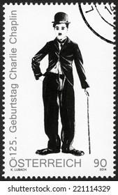 AUSTRIA - CIRCA 2014: A stamp printed in Austria shows portrait of Charlie Chaplin (1889-1977), 125th anniversary of birthday, circa 2014