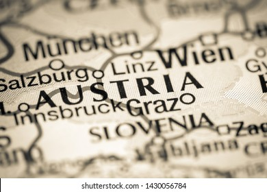 Austria, Europe on a map