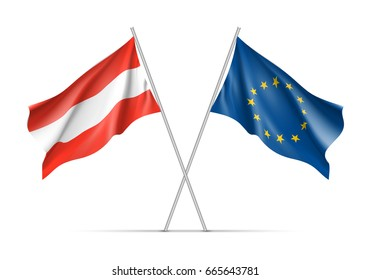 Austria and European Union waving flags on flagpole. EU sign with twelve gold stars on blue and Austrian national symbol in red and white colors.