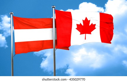 Austria flag with Canada flag, 3D rendering