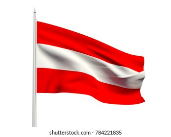 Austria flag floating in the wind with a White sky background. 3D illustration.
