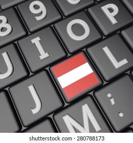 Austria flag over computer keyboard, 3d render, square image