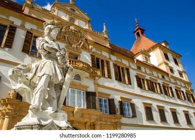 Austria. Graz- 04/10/2018: Old Palace Complex with a park adjacent to it