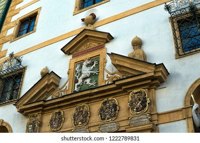 "Austria. Graz September 2018. details of the facade of the Arsenal Museum ""Armory"" in Graz"