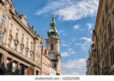 Austria. Graz. Stadtpfarrkirche church facade in city centre