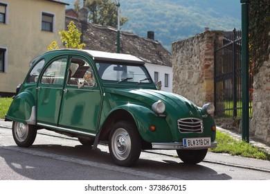 Austria, Hainburg October 17, 2015: A emerald vintage Citroen 2CV