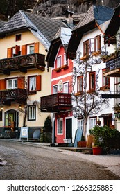 Austria, Hallstatt - 03.08.18: Town square in Hallstatt, Austria. Hallstatt is historical village located in Austrian Alps at the Hallstatter lake and promoted by UNESCO World Heritage region.