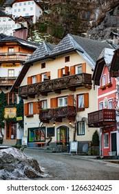 Austria, Hallstatt  - 08.03.18:Town square in Hallstatt, Austria. Hallstatt is historical village located in Austrian Alps at the Hallstatter lake and promoted by UNESCO World Heritage region.