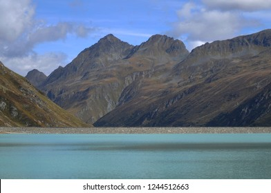 Austria: Hikers & Bikers Paradies at Lake Silvretta in Montafon valley. Due to the global climate change, melting glaciers and permafrost the mountains will dry out