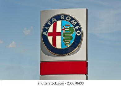 AUSTRIA - JULY 02:Alfa Romeo logo on July 02, 2014 in Austria. Alfa Romeo is an Italian manufacturer of cars. Founded as A.L.F.A.  on June 24, 1910, in Milan.