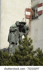 Austria, memorial in Innsbruck - father and son watching enemies in Tirolen War 1809 (Andreas Hofer) - created 1904 from Christian Platter,