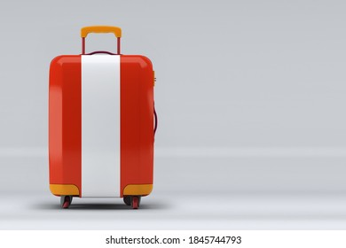 Austria national flag on a stylish suitcases on color background. Space for text. International travel and tourism concept. 3D rendering.