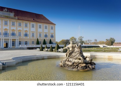Schloßhof, Austria - October 22, 2018: Schloß Hof is a baroque palace in Lower Austria, which privious owners include Prince Eugene of Savoy and Maria Theresia. It is currently being restored.