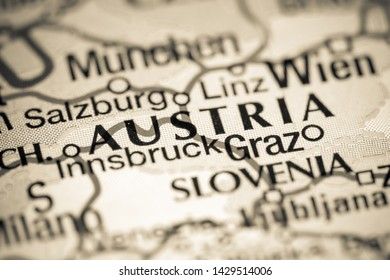 Austria on a geographical map