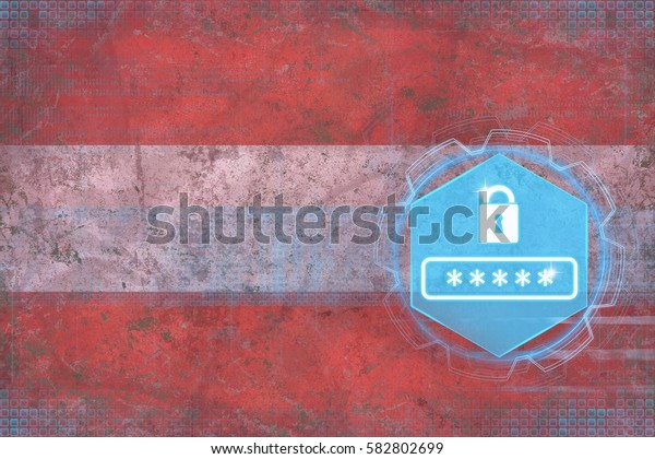Austria password protection. Internet security concept.