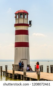 Austria, Podersdorf - 07.06.2015: The famous Lighthouse of Podersdorf,Lake Neusiedl,Burgenland, People at lighthouse Tourist spot