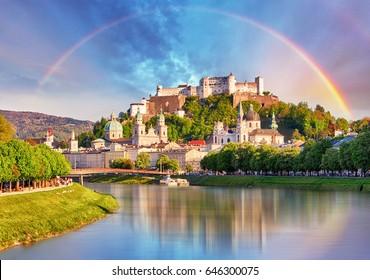 Austria, Rainbow over Salzburg castle