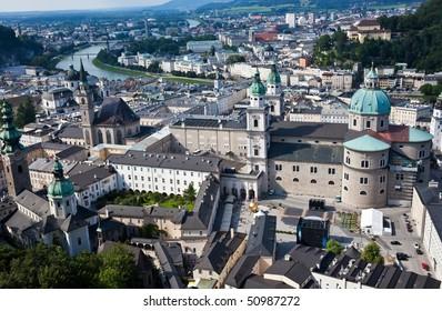 Austria, Salzburg, city view from Hohensalzburg