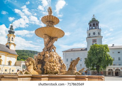 Austria, Salzburg, the fountain of Residence square in the old town