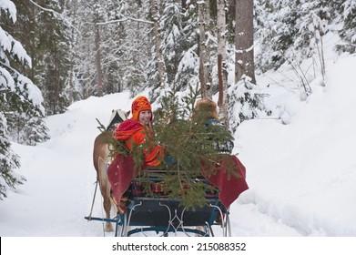 Austria, Salzburger Land, Couple transporting Christmas tree on sleigh