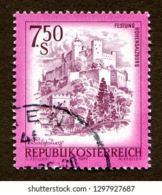 "Austria stamp- CIRCA 1977: a stamp printed in Austria shows Festung Hohensalzburg, Salzburg, from the series ""Sights in Austria""."