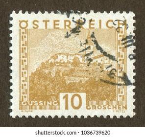 Austria stamp no circa date: A stamp printed in Austria shows gussing scenery.
