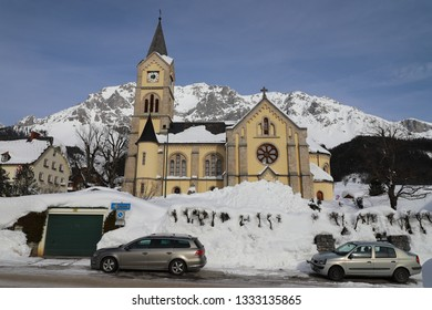 AUSTRIA, STYRIA, RAMSAU AM DACHSTEIN - January 19, 2019: Evangelical church in Ramsau am Dachstein
