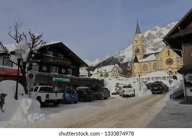 "AUSTRIA, STYRIA, RAMSAU AM DACHSTEIN - January 19, 2019: Building of the German ZDF TV series ""Die Bergretter"" in Ramsau am Dachstein"