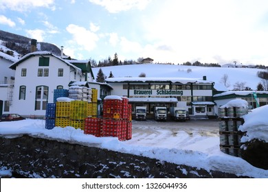 AUSTRIA, STYRIA, SCHLADMING - JANUARY 18, 2019: Beer brewery in Schladming