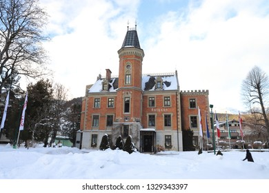 AUSTRIA, STYRIA, SCHLADMING - JANUARY 18, 2019: Town hall in Schladming