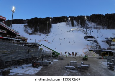 AUSTRIA, STYRIA, SCHLADMING - January 18, 2019: Preparations for THE Nightrace are in progress at the Planai Stadium.