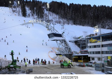 AUSTRIA, STYRIA, SCHLADMING - January 18, 2019: The ski stadium in Schladming is being prepared for the night race