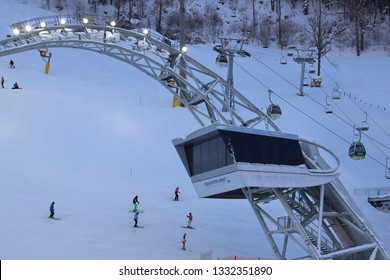 AUSTRIA, STYRIA, SCHLADMING - January 18, 2019: Skygate over the Planai ski stadium